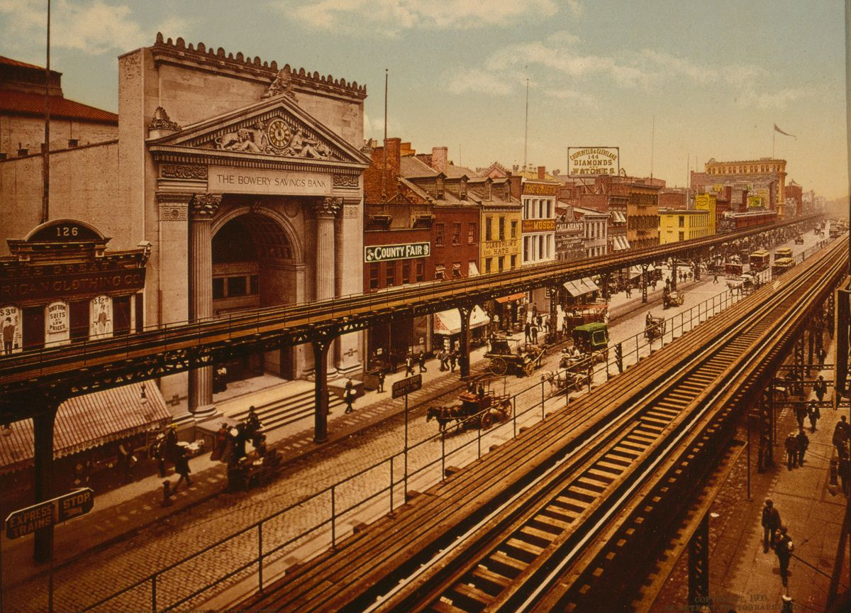 The Bowery looking north, 1900
