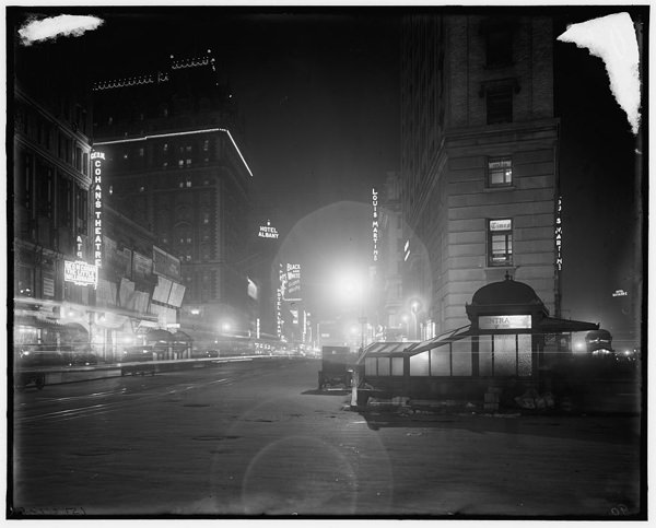Broadway at night from Times Square, 1900's