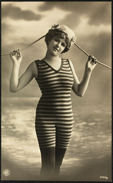 Women wearing 1920s Swimsuit with matching stockings