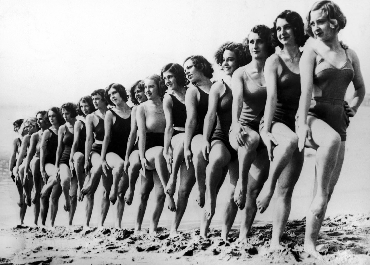 The Latest In swimwear on a beach In California, 1934