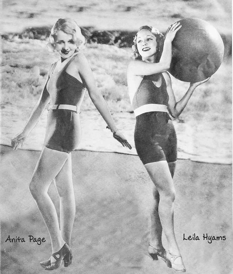 Anita page & Leila Hymans -Stretchy synthetic fabrics, with higher-cut legs and lower cut necklines, 1930s