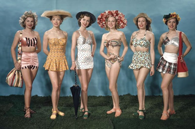 Any color could be found on a swimsuit, but patriotic colors were popular as well as floral patterns, 1940s