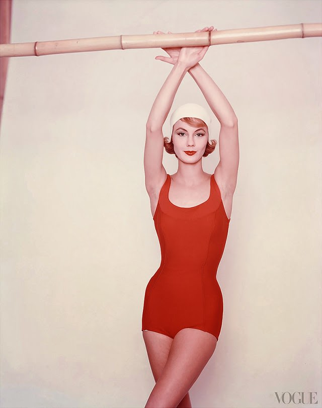Model wearing red bathing suit, 1958