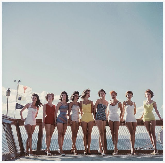 Young women on the Nevada side of Lake Tahoe, 1959