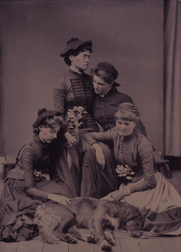 Four girls mourning a dead dog