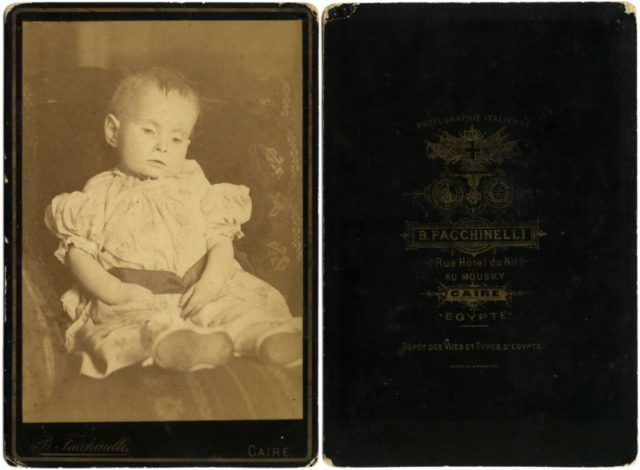 Cabinet card by Beniamino Facchinelli showing deceased infant, c.1890.