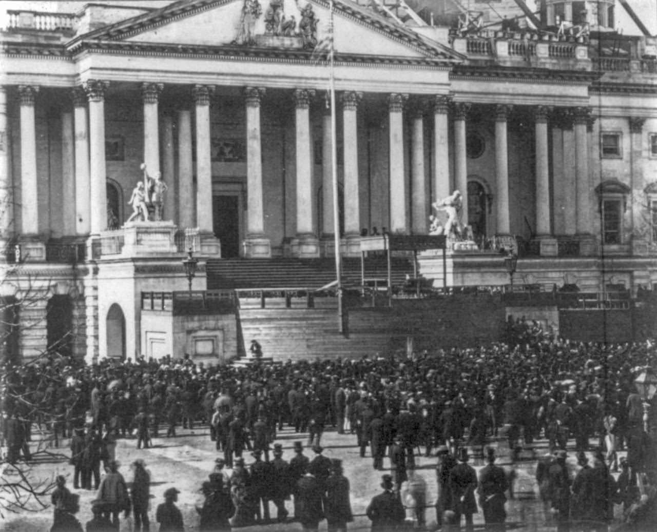 A crowd gathers for Abraham Lincoln's inauguration, March 4, 1861
