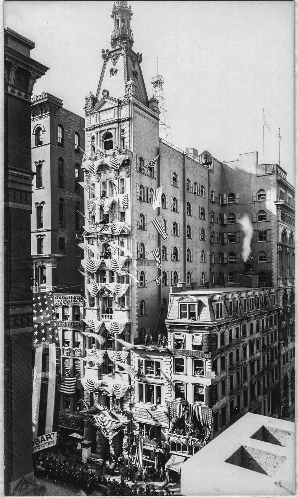 201-207 Broadway, Decorated for a Parade Promoting William McKinley and Garret Hobart for the Presidential Election, 1896.