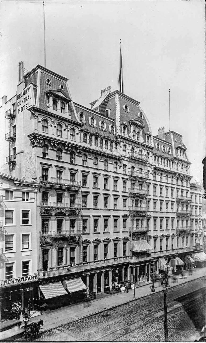 The Broadway Central Hotel, Broadway at Bond Street, 1890