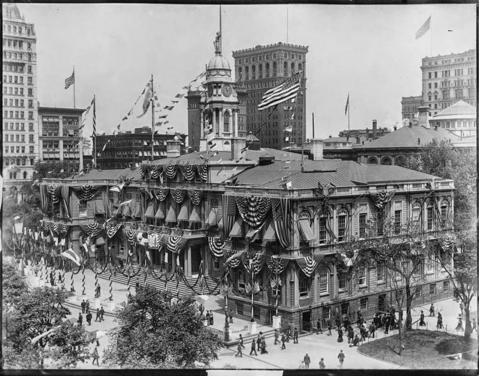 City Hall in its fanciest dress for the Dewey Parade, 1898