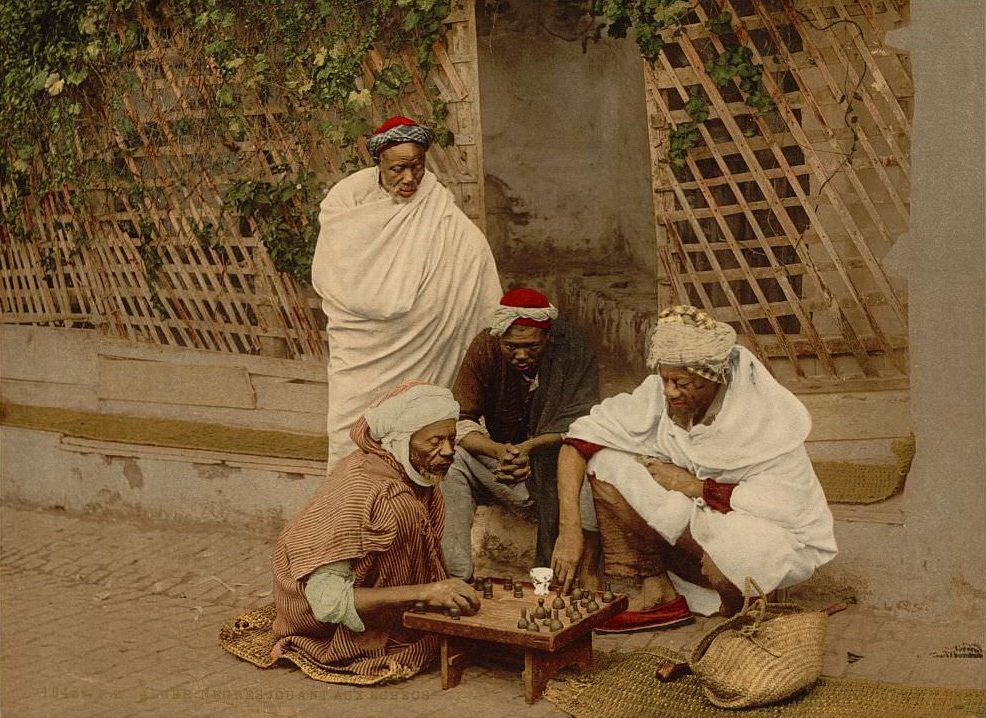 Negroes playing chess, Algiers, Algeria