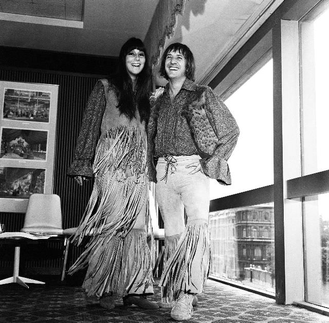 Sonny and Cher at Hilton Hotel during a press reception, London. Photo by Eric Harlow, 1965