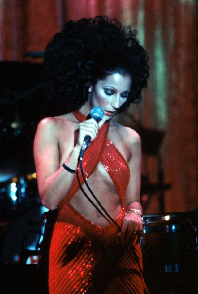Cher performs onstage, 1972