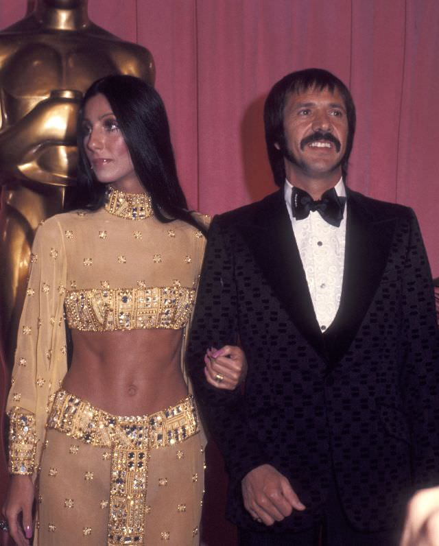 Cher and Sonny Bono attend the 45th Annual Academy Awards at Dorothy Chandler Pavilion. Photo by Ron Galella, 1973