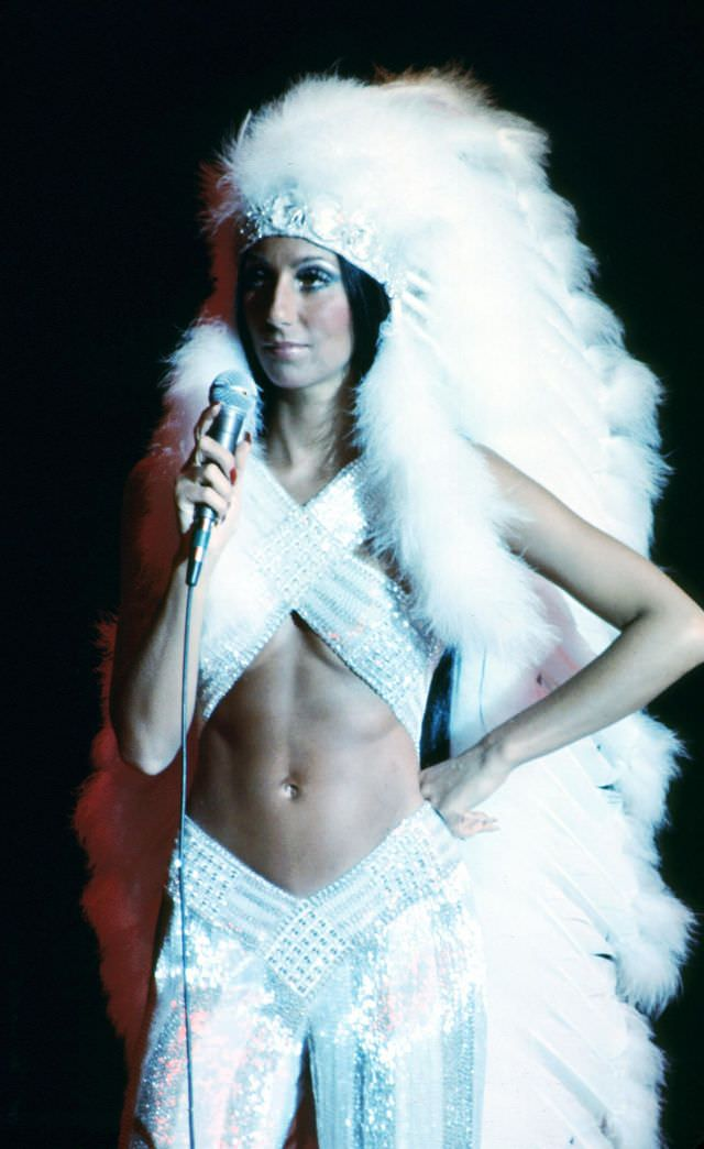 Cher performs onstage at the Rock Music Awards at the Santa Monica Civic Auditorium in Los Angeles, California, 1975