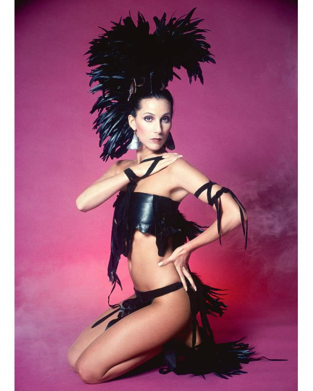 Cher poses for a Fashion Session in a Bob Mackie Creation in Los Angeles, California, 1978