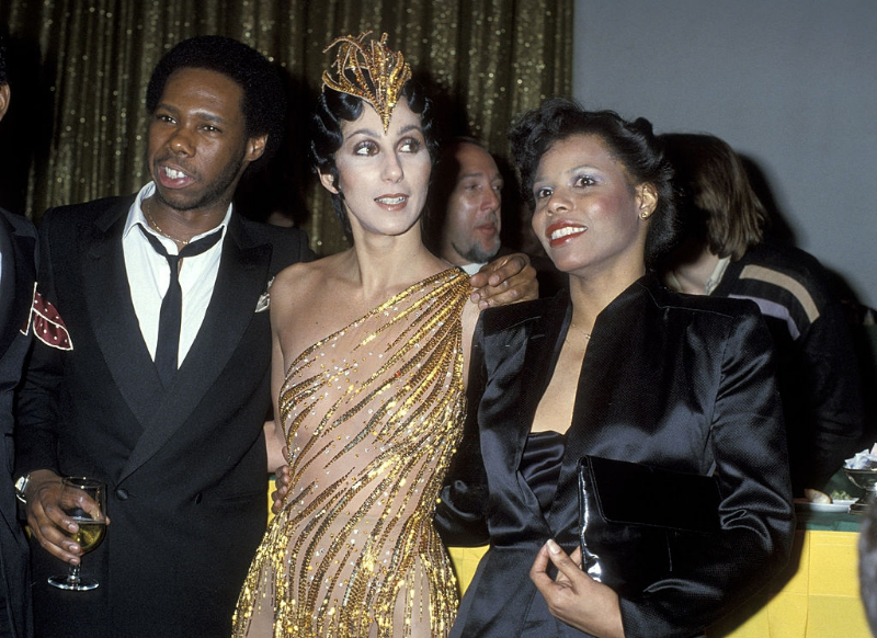 Nile Rodgers, Cher and Alfa Anderson attend the Billboard Magazine's 1978 Disco Convention Banquet at the New York Hilton Hotel, New York City. Photo by Ron Galella, 1979