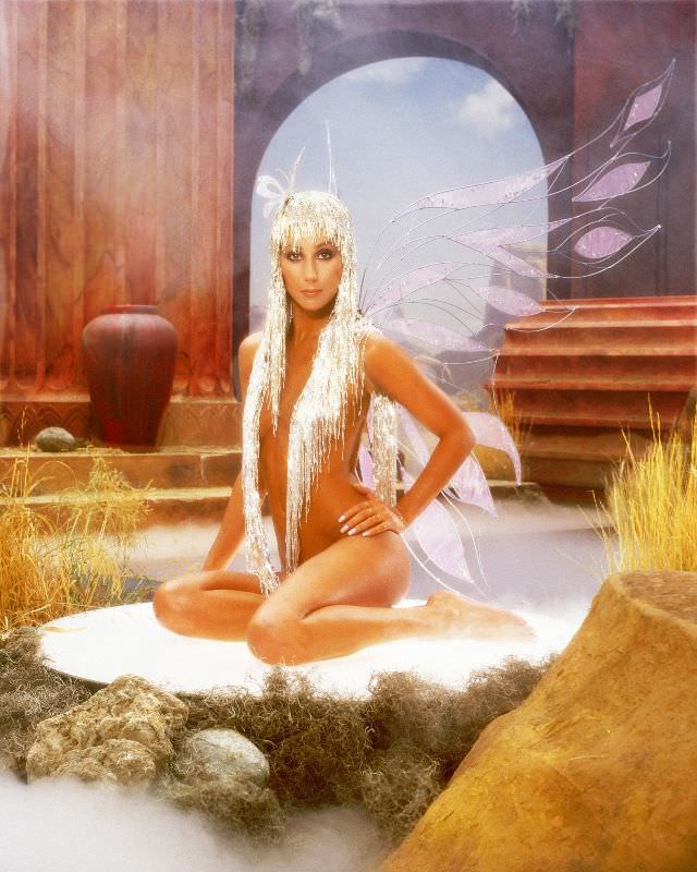 Cher poses for an album cover session for 'The Prisoner' on Casablanca Records in Los Angeles, California. Photo by Harry Langdon, 1979