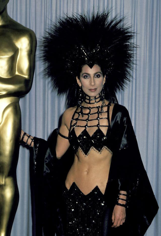 Cher attends the 58th Annual Academy Awards at the Dorothy Chandler Pavillion in Los Angeles. Photo by Jim Smeal, 1986