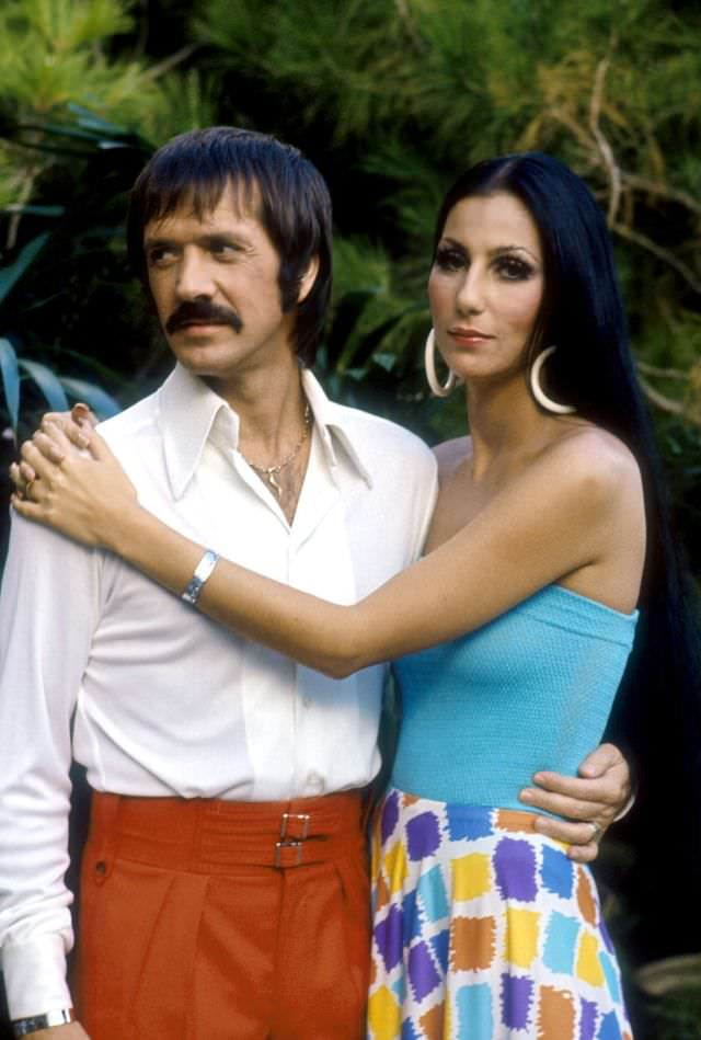 Sonny Bono and Cher pose for a promotional photo for 'The Sonny and Cher Show.' Photo by Martin Mills, 1970