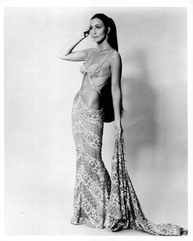 Cher in a cutout gown for a portrait session during the 'The Sonny and Cher Show' years. Photo by Michael Ochs Archives, 1972