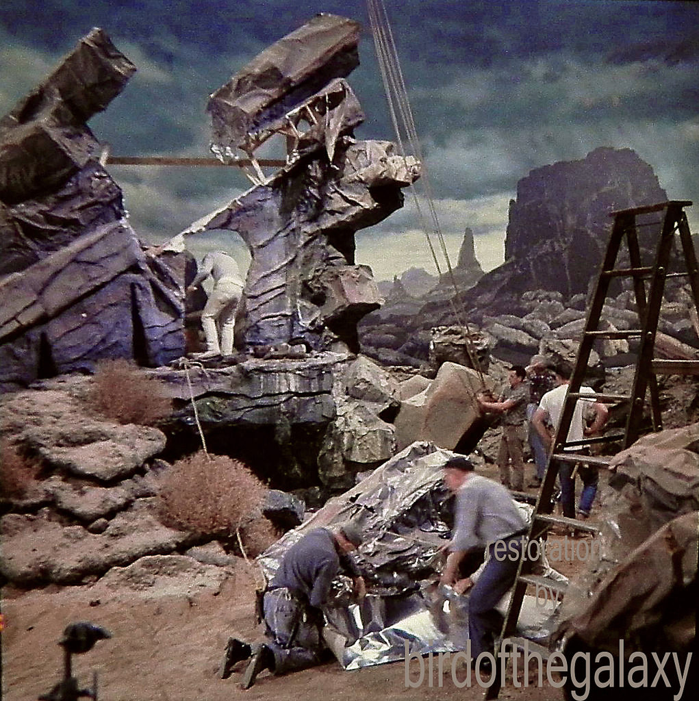 This shot shows the construction of the set used for the filming of the original 1964 pilot The Cage.