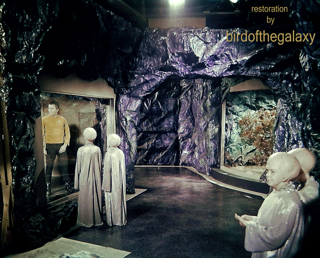 """From the filming of The Cage, this shot shows the set of the subterranean """"cage"""" area where Captain Pike was held by his Talosian captors."""