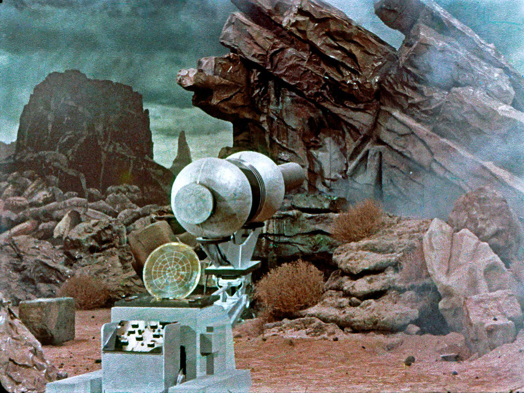 The laser canon, pre-fx shot, from the surface of Talos 4, from the pilot The Cage, later reworked into the TOS episode The Menagerie.