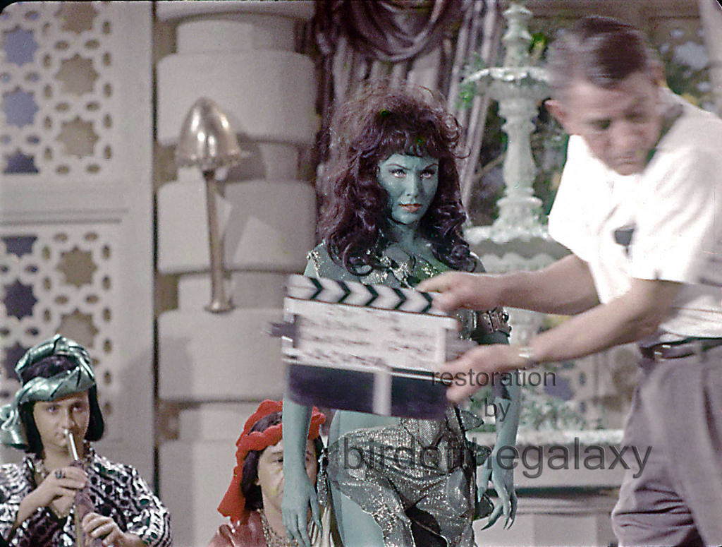 A clapper from the filming of the first piloit setting up Vina's dance. Susan Oliver's expression, nails, and one of the band members make this an interesting and historical shot from one of the iconic early TOS moments.
