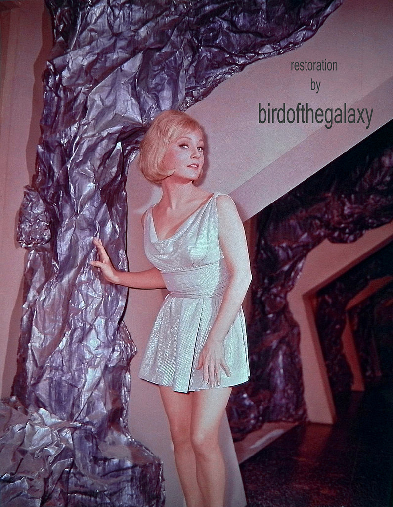 In this posed shot on the set of The Cage, Susan Oliver in her non illusion (well, actually her illusion of beauty) dress can be seen on the set of subterranean Talos IV.