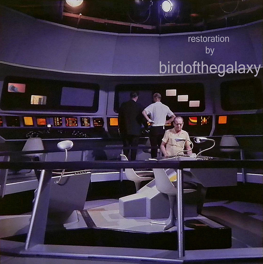 This shot shows the bridge of the Enterprise from the starboard side railing height.