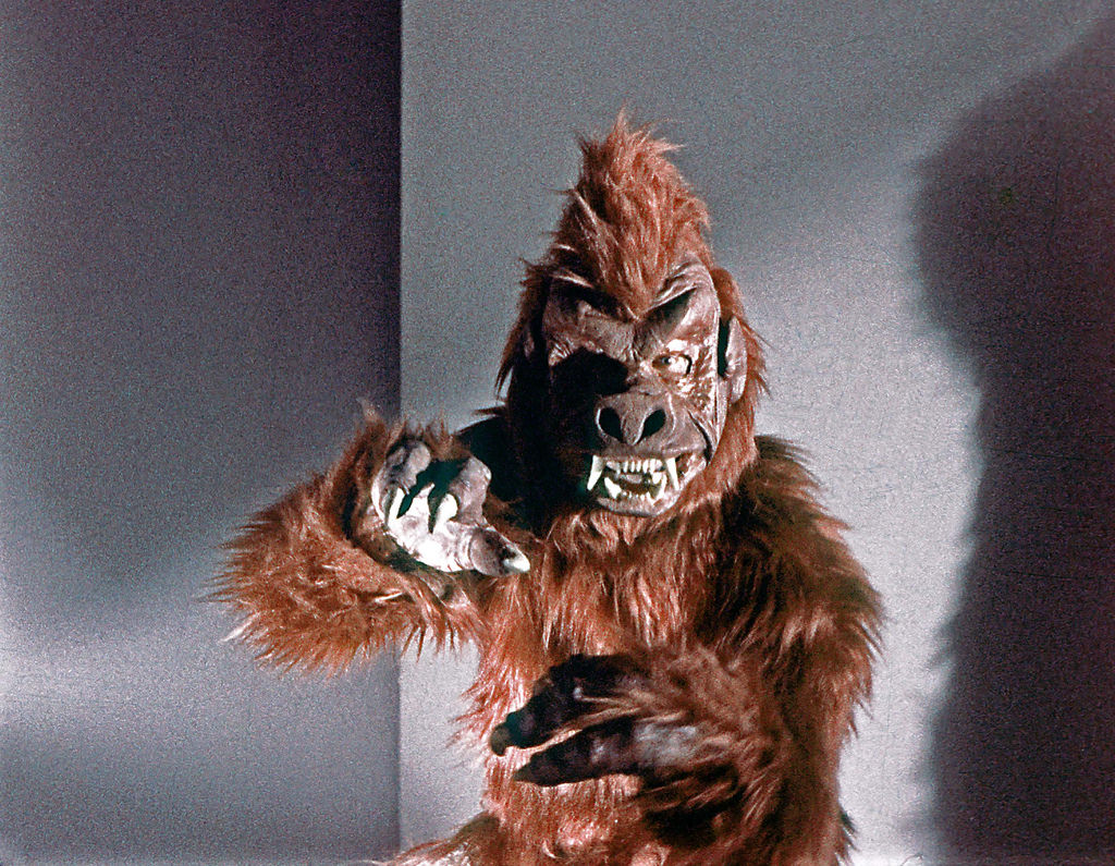 A frontal shot of the creature from the adjacent cage from the first Star Trek pilot, The Cage.