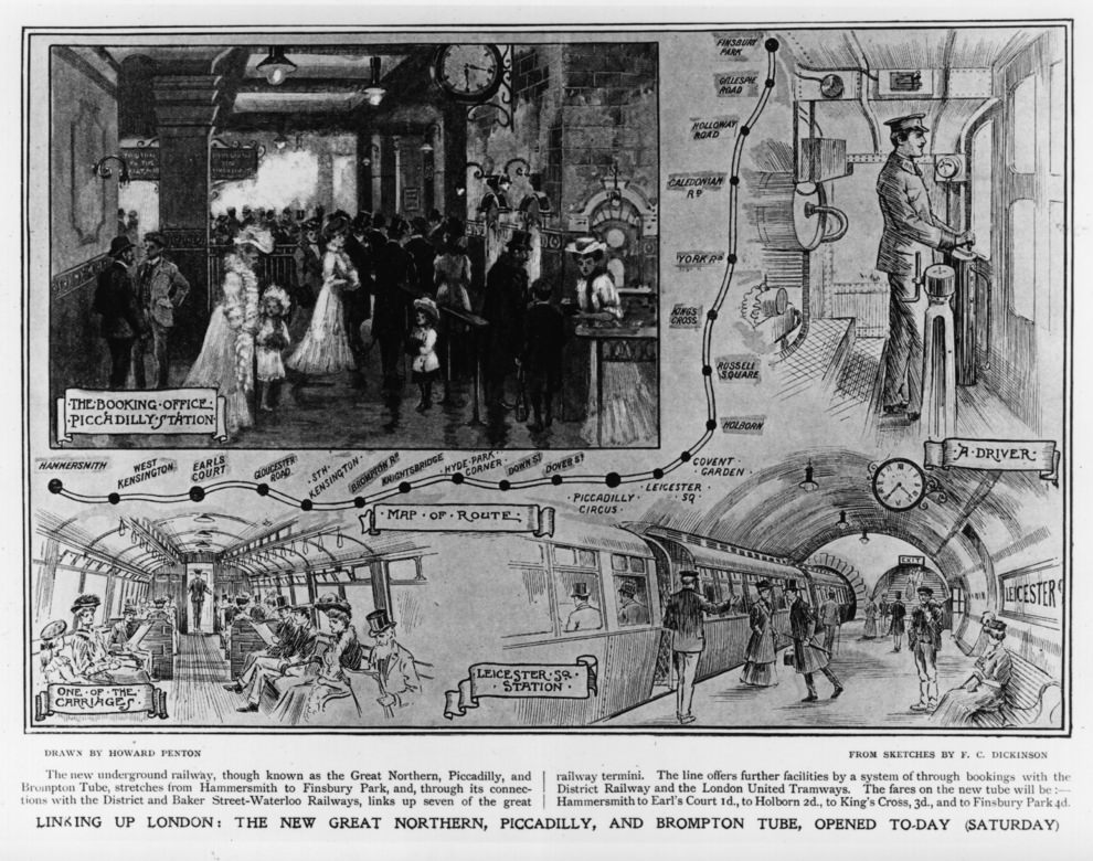 Map and illustrations showing the new Great Northern, Piccadilly and Brompton underground tube route, linking London stations from Hammersmith to Finsbury Park, 1906.
