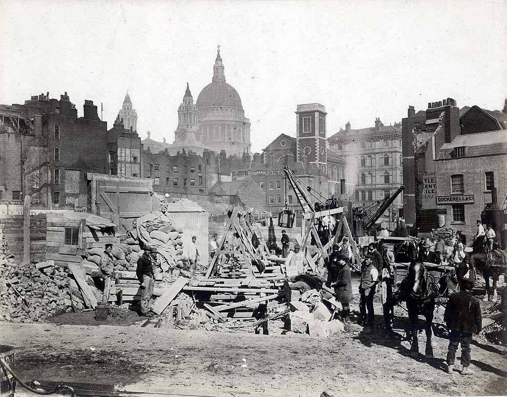Construction work on the site of Blackfriars Station