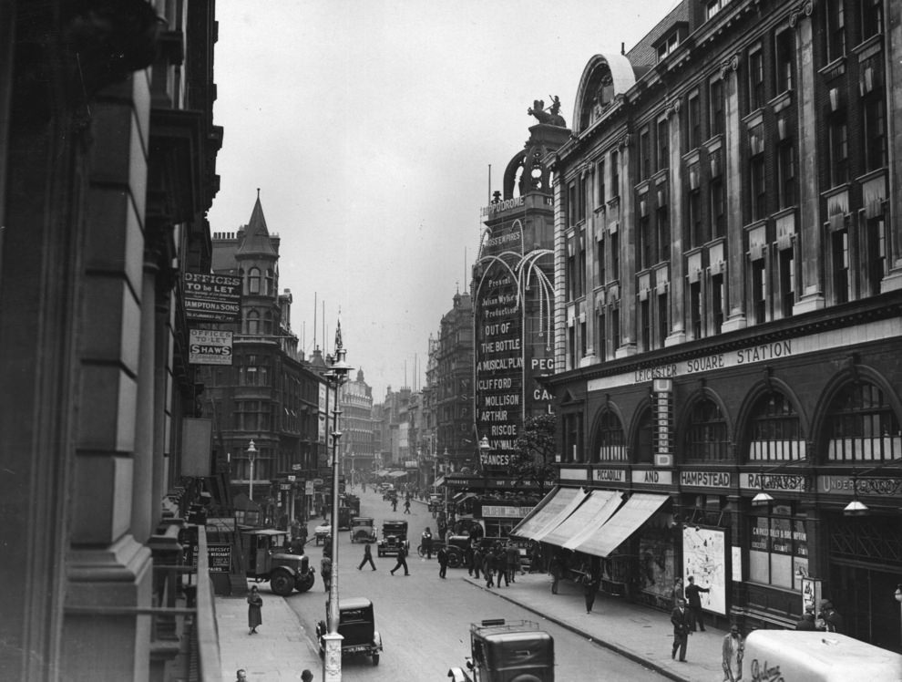 London's Charing Cross Road with the Hippodrome and Leicester Square station on the left, 1938.