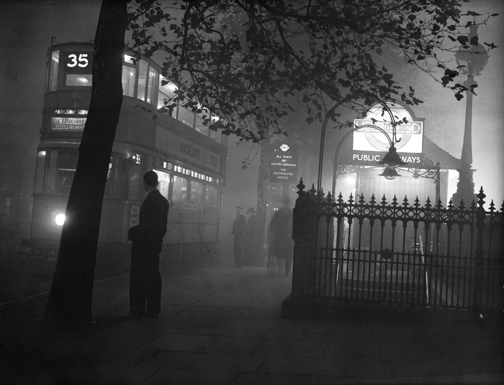 The entrance to Embankment, 1938.