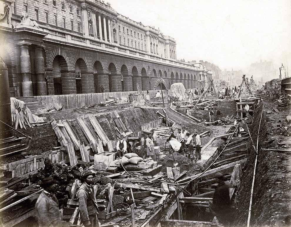District Line construction outside Somerset House, 1869