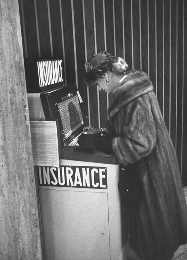 Buying flight insurance used to be so much easier. Here's a machine selling air insurance at Newark Airport.