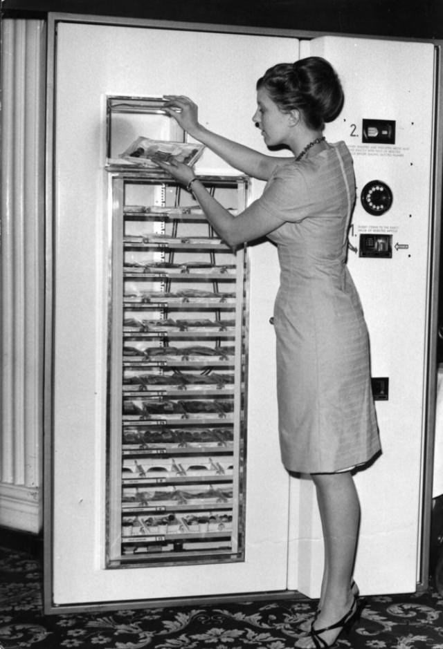 """A new refrigerated vending machine called the """"5 Star Microdine Hot Meal Service""""."""
