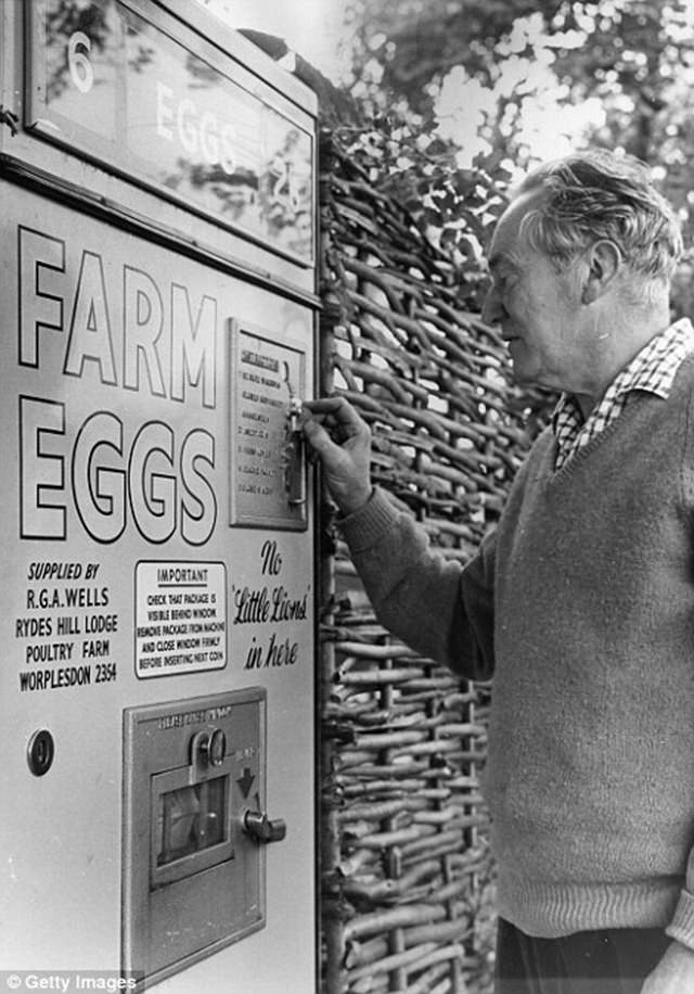 A man purchases fresh eggs from the machine in Surrey, 1963.