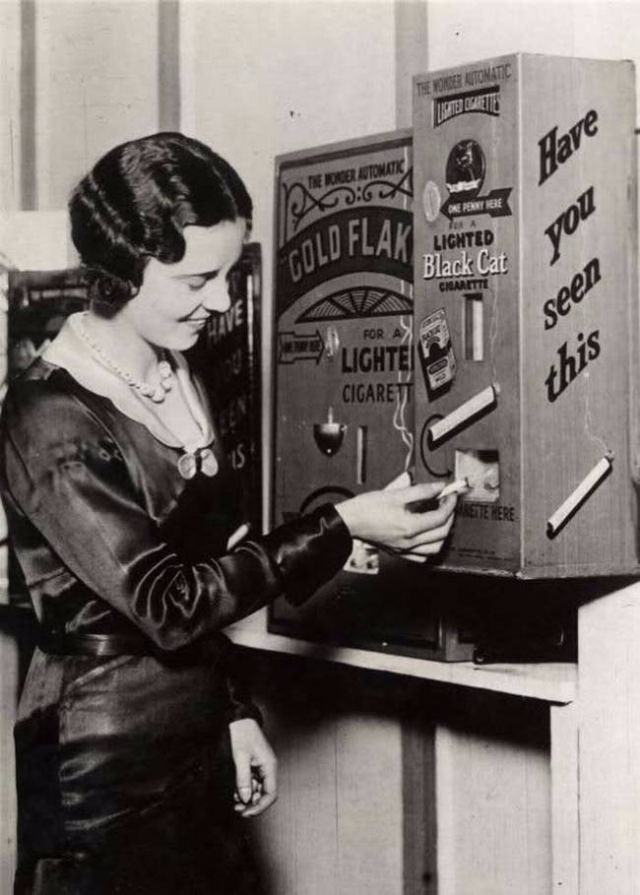 This machine actually sold already lit cigarettes for a penny.