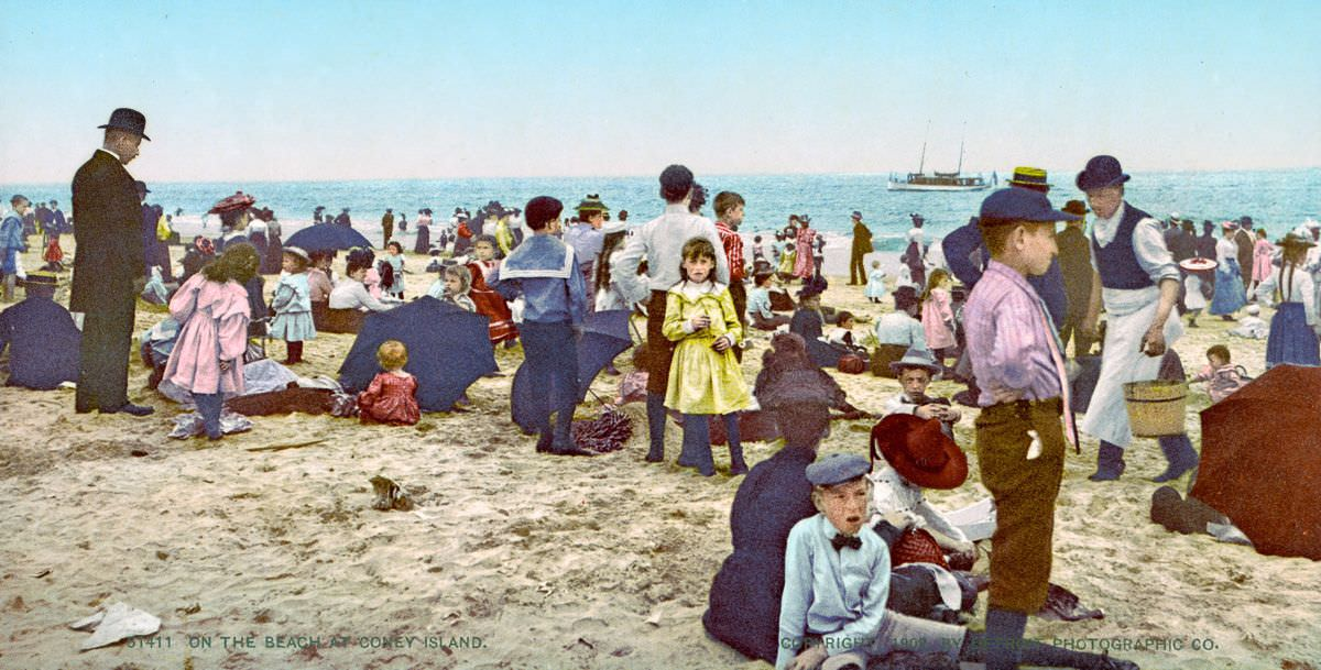 On the Beach at Coney Island, 1900