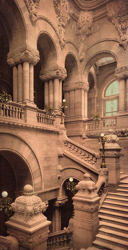 Staircase to the Capitol, Albany, N.Y, 1902