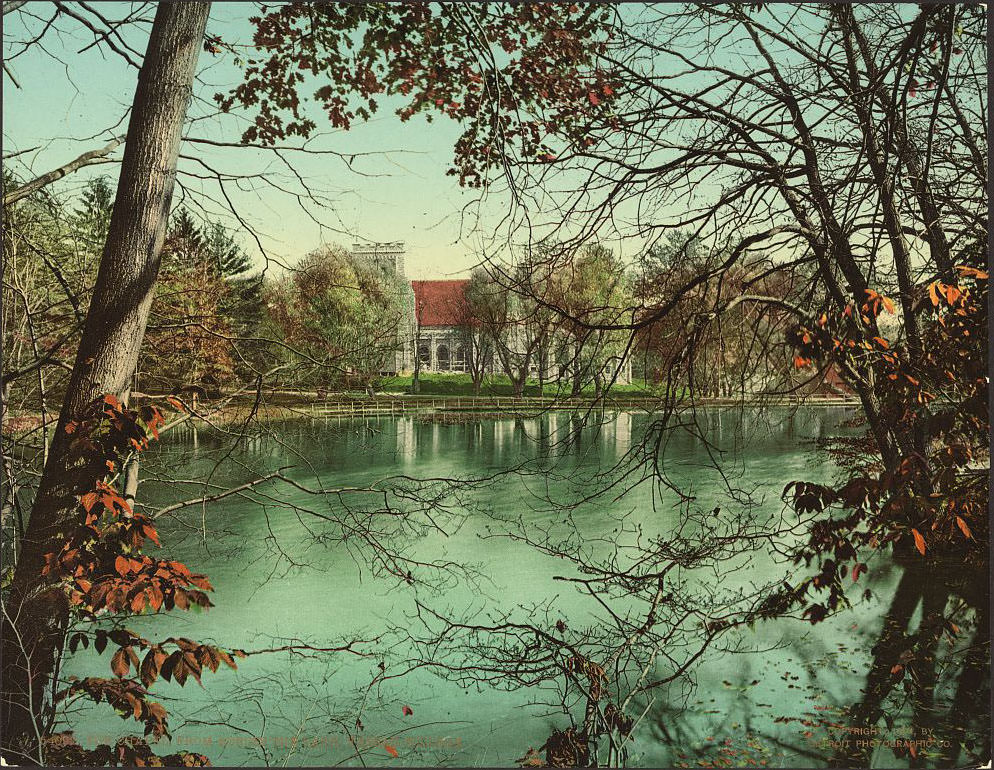 The chapel from across the lake, Vassar College, 1904