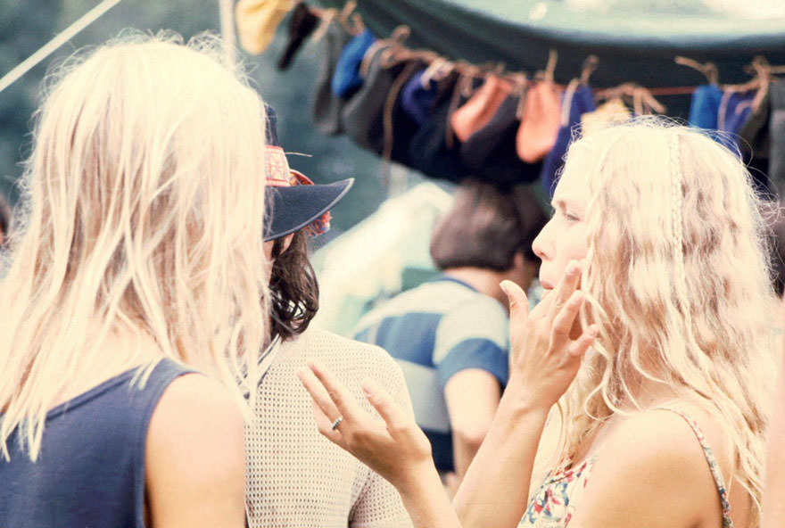 Two Blonde Women At The Woodstock Music Festival