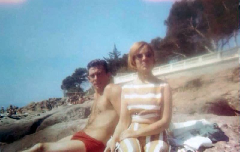 Reggie Kray and wife Frances sunbathing on the beach in November 1964 in southern Spain