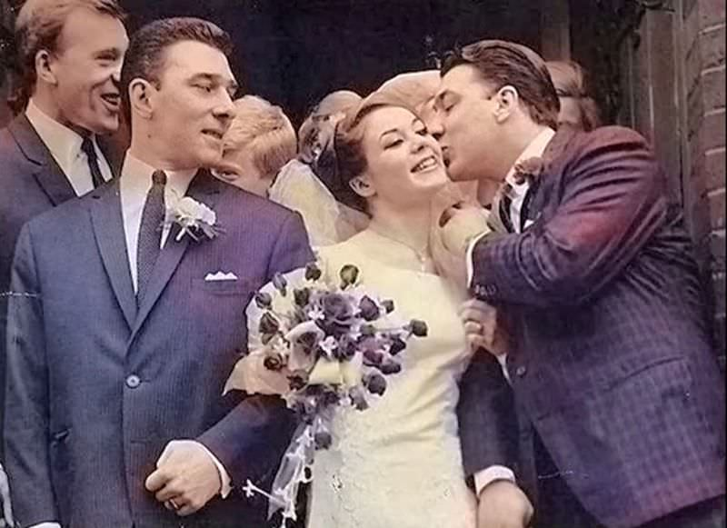 Frances Shea and gangster Reggie Kray on their wedding day, Ronnie Kray on the left, April 20th, 1965