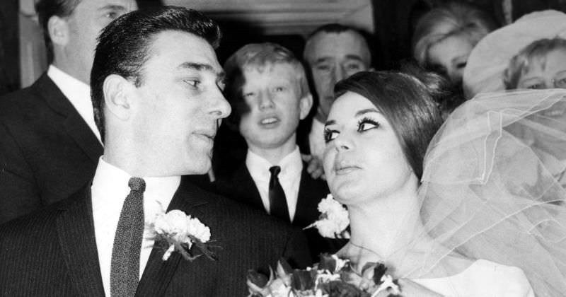 Frances Shea and gangster Reggie Kray on their wedding day, April 20th, 1965