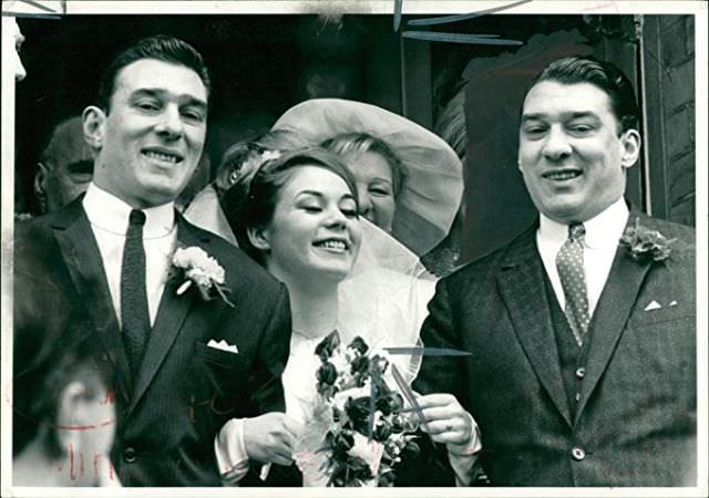 Frances Shea and gangster Reggie Kray on their wedding day, Ronnie Kray on the right, April 20th, 1965