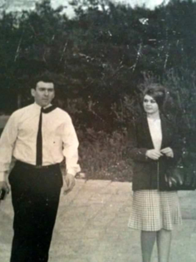 Reggie Kray and Frances Shea on their honeymoon in Athens, Greece, April 1965